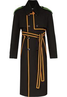 Pronounce Trench Coat Com Acabamento Contrastante - Preto