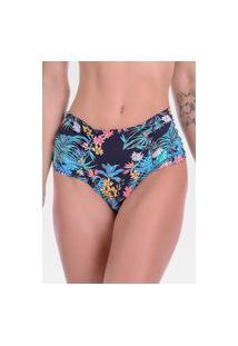 Calcinha Summer Soul Hot Pants Franzida Floral Preto