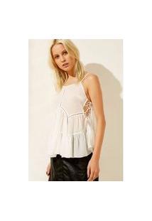 Blusa Bata Longa Transparência Silk Off White - 38