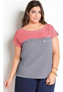 Blusa Marguerite Listrada Bicolor Plus Size