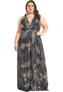 Vestido Lala Dubi Plus Size Infinity Dress Musseline Jacquard - Feminino-Preto