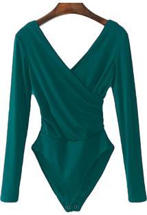 Body Transpassado Luxo Blusa Camisa Manga Longa Frozini Festa Luxo Verde