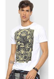 Camiseta Watkins & Krown Caveira Masculina - Masculino-Branco+Cinza