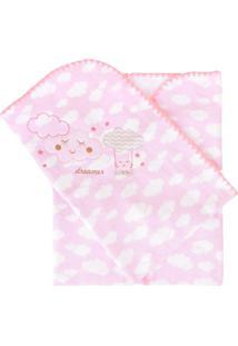 Cobertor Minasrey Bordado Com Caixa Alvinha Rosa