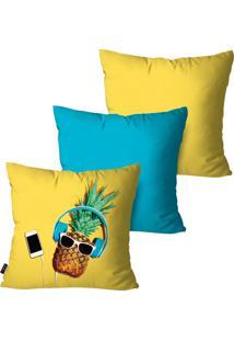 Kit Com 3 Capas Para Almofadas Pump Up Decorativas Amarelo Abacaxi Music 45X45Cm