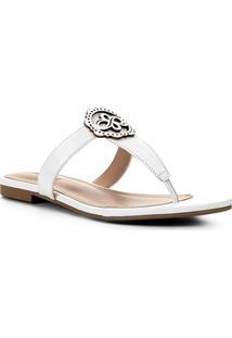 Rasteira Couro Shoestock Laser - Feminino-Off White