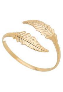 Anel Banhado A Ouro Folhas- Dourado- Regulã¡Vel- Isabela Borgonian