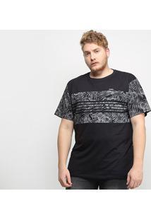 Camiseta Gajang Folhagens Plus Size Masculina - Masculino-Preto