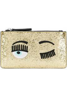 Chiara Ferragni Carteira Blinking Eye - Dourado