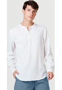 Camisa Bata Masculina Manga Longa Gola Padre