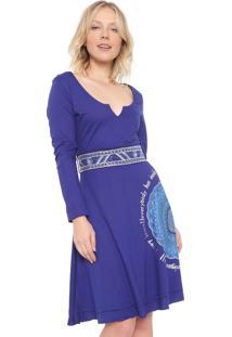Vestido Desigual Curto Happy Azul