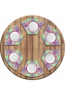 Jogo Americano Love Decor Para Mesa Redonda Wevans Colorfull Geométric Kit Com 6 Pçs - Kanui