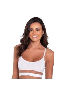 Sutiã Click Chique Básico Top Faixa Tule Branco