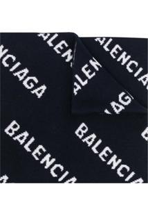 Balenciaga Cachecol De Lã Com Logo - Azul