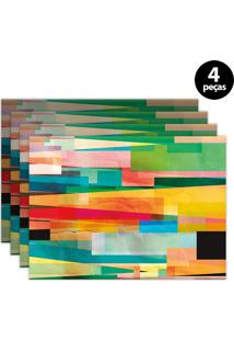 Kit 4Pçs Jogo Americano Mdecor Abstrato 40X28Cm Verde