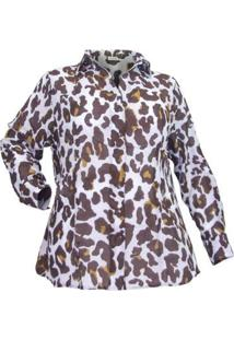 Camisa Estampada Lori Casual Plus Size Feminina - Feminino-Marrom
