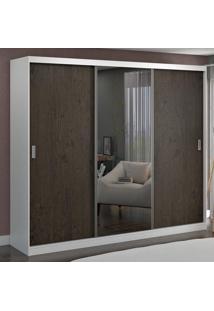 Guarda-Roupa Casal 3 Portas Com 1 Espelho 100% Mdf 1903E1 Branco/Málaga - Foscarini