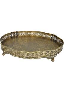Bandeja Oval Decorativa Btc Em Metal 7 X 34 X 26 Cm - Dourada