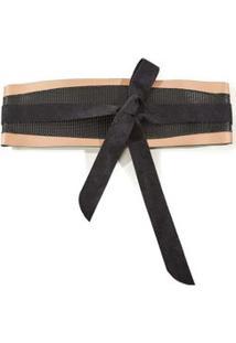 Cinto Cintura Largo Mix De Textura Marrom