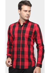 Camisa Xadrez Watkins&Krown Masculina - Masculino-Vermelho+Preto