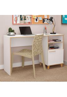 Mesa Para Computador Com 1 Porta Oslo Bc 67 - Brv Móveis - Branco / Pinus