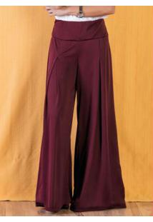 Calça Bordô Pantalona Com Cintura Média