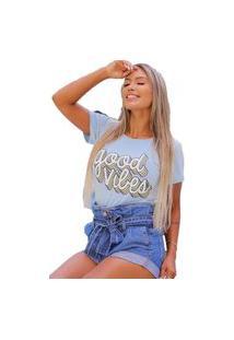 Camiseta T-Shirt Geb Good Vibes Azul Claro