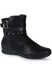 Ankle Boots Feminina Mooncity Mini Tiras Preto