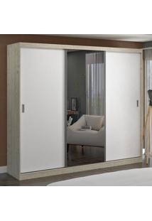 Guarda-Roupa Casal 3 Portas Com 1 Espelho 100% Mdf 774E1 Marfim Areia/Branco - Foscarini