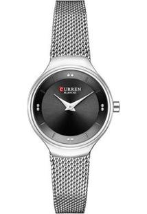 Relógio Curren Analógico C9028L Feminino - Feminino-Prata+Preto