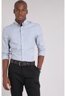 Camisa Masculina Comfort Manga Longa Cinza