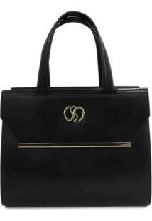 Bolsa Com Tag- Preta & Dourada- 29X35X15,5Cm- Sasantino
