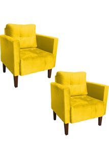 Kit 02 Poltrona Decorativa Lívia Para Sala E Recepção Suede Amarelo - D'Rossi