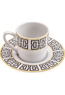 Conjunto De Xícaras De Café Lyor Egypt Em Porcelana 6 Peças 90Ml