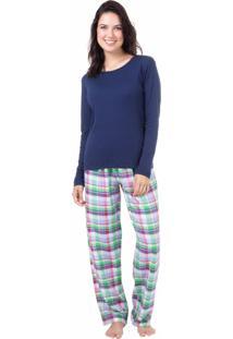 Pijama Longo Algodão Homewear Marinho - 589.079 Marcyn Lingerie Pijamas Azul