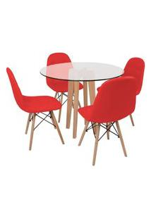 Conjunto Mesa De Jantar Em Vidro 90Cm Com Base Vértice + 4 Cadeiras Botonê - Vermelho