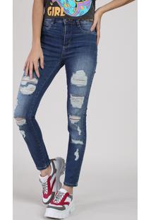 Calça Jeans Feminina Sawary Cigarrete Cintura Alta Destroyed Azul Escuro