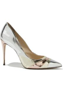 Scarpin Le Lis Blanc Kim Metallic Couro Prata Feminino (Prata, 40)