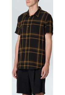Camisa Double Plaid Mc-Preto/Mostarda - P