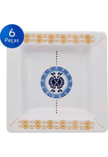 Conjunto De Pratos Fundos 6 Peças Nara Focus - Oxford - Branco / Azul