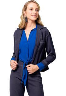 Casaqueto Mx Fashion Com Bolsos Collins Azul Marinho
