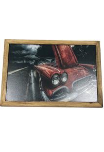 Quadro Decorativa Quarto Sala Carro 20X30Cm Madeira Vermelho