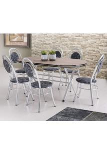 Conjunto De Mesa Com 6 Cadeiras Escócia Móveis Brastubo Carvalho/Damasco Preto