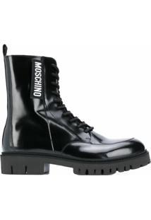 Moschino Ankle Boot Com Cadarço - Preto