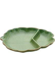 Petisqueira Folha De Banana Em Cerâmica - 4 Cm X 26 Cm X 19,8 Cm - Verde