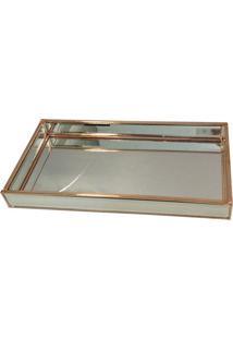 Bandeja Decorativa- Espelhada & Cobre- 3,5X34X18Cm
