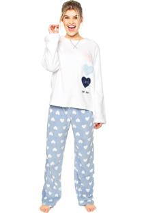 Pijama Any Any Soft Love Smile Branco/Azul