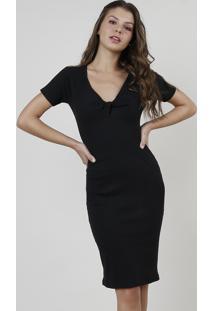 Vestido Feminino Curto Canelado Com Nó Manga Curta Preto