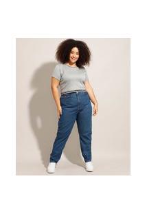 Calça Jeans Feminina Plus Size Mom Azul Escuro
