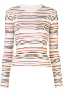 Frame Suéter Canelado Com Listras - Branco